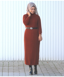Chunky Knit Dress with Turtleneck
