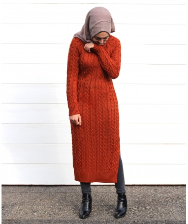 Knit Dress with Cable Pattern