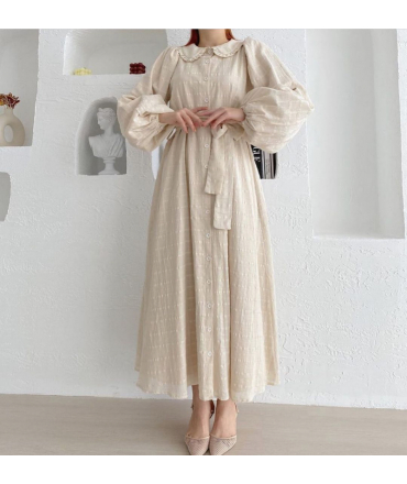 Dress with structured fabric